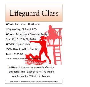 Lifeguard Class Flyer Nov 16